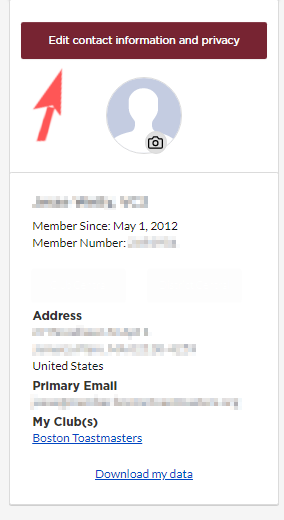 sample image of the member profile information on Toastmasters.org